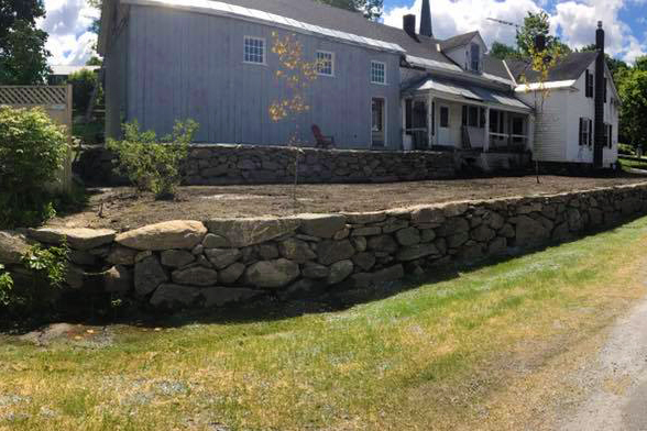 Completed Stone Retaining Wall